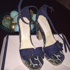 Stella McCartney suede snakeskin platform sandals